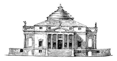 Villa de Palladio les compositions de Palladio si célèbres composées d'éléments hétérogènes ont rendu ses combinaisons de dessin de ligne vintage civique ou d'illustration de gravure.