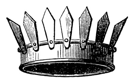 Crown Vallary is a circlet of gold vintage line drawing or engraving illustration.