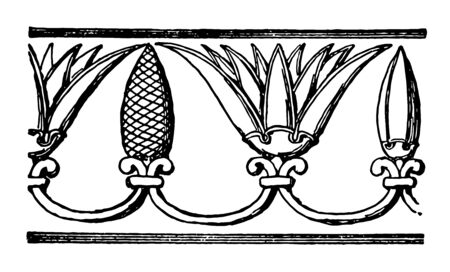 Assyrian Ornament is a Repeating band motive with pine cones vintage line drawing or engraving illustration. Ilustração