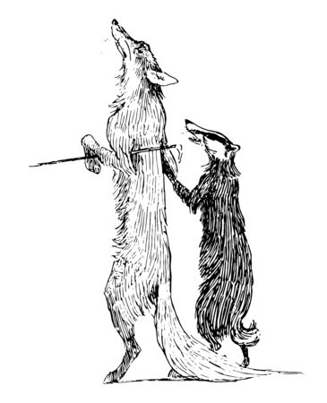 Reynard the Fox: Reynard and Grimbard this scene shows the fox and badger holding hands and walking together vintage line drawing or engraving illustration