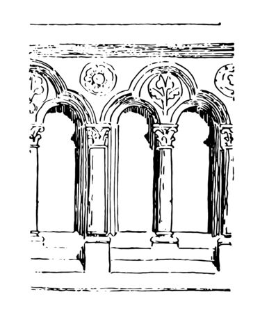 Balustrade Early Gothic transitional balustrade Romanesque architecture vintage line drawing or engraving illustration.