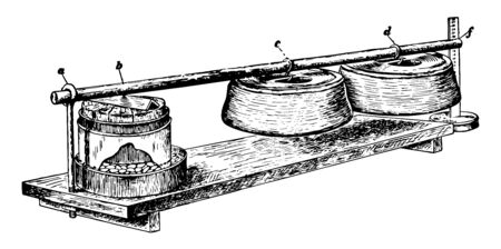 This illustration represents Seed Swelling which is a method of finding the swelling capacity of seeds vintage line drawing or engraving illustration.