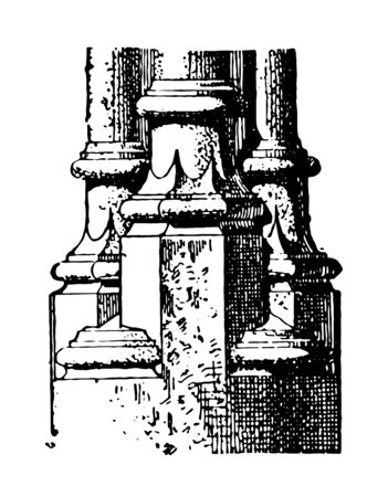 Base Late type gothic column base Rouen France Medieval Shop Ornament Clipart Gallery vintage line drawing or engraving illustration. Çizim