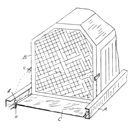 Device Radiator is used to cool or heat the environment by transferring thermal energy from one medium to another vintage line drawing or engraving illustration. Stock Illustratie