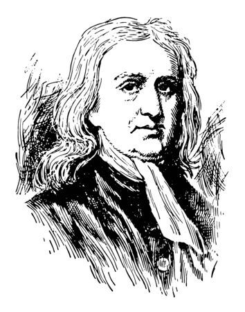 Sir Isaac Newton 1642 to 1727 he was an English mathematician astronomer and physicist who discovered the law of gravitation vintage line drawing or engraving illustration