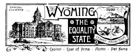 The state banner of Wyoming the equality state this banner has state house on left side it has shield with mountains sunrays train plow and sword on right side WYOMING is written in center vintage line drawing or engraving illustration