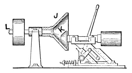 This illustration represents Friction Coupling for Various Speed Adjustment, vintage line drawing or engraving illustration.