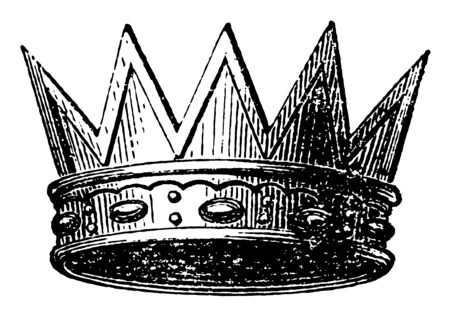 Eastern Crown also called the Radiated vintage line drawing or engraving illustration.