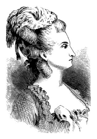 Anne Vallayer-Coster, 1744-1818, she was an eighteenth-century French painter, vintage line drawing or engraving illustration