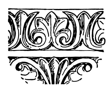 Byzantine Band or Acanthus leaf band Repeating Pattern heavy metal band West Virginia Brian Henderson Matt Bowles unique sound musical territories vintage line drawing or engraving illustration.