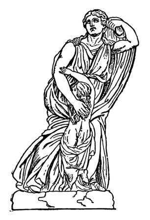 A statue of Niobe with her youngest daughter vintage line drawing or engraving illustration. Banque d'images - 133084068