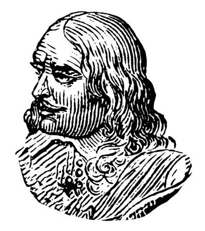 Bartholomeus van der Helst 1613 to 1670 he was a Dutch painter vintage line drawing or engraving illustration