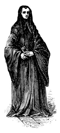 Benedictine Monk is a member of a religious order who lives a communal life in a monastery vintage line drawing or engraving illustration.