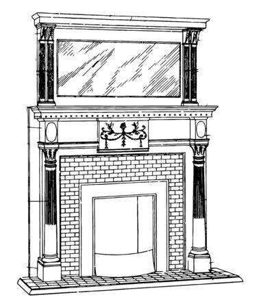 Small Brickwork Mantel are originated in medieval times, it includes the decorative framework around the fireplace, vintage line drawing or engraving illustration.