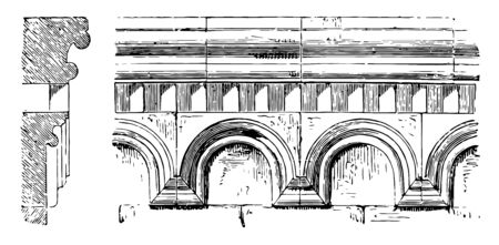 Arcaded cornice is a row of arches applied to the wall its upper part of a Classical order comprising in architrave which have polygonal end of a chancel or chapel vintage line drawing or engraving illustration.