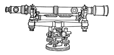 This illustration represents Surveyor Level, vintage line drawing or engraving illustration.