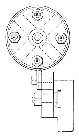 This illustration represents Turning Belt Pulleys which is first put in a revolver lathe and there bored and reamed, vintage line drawing or engraving illustration.