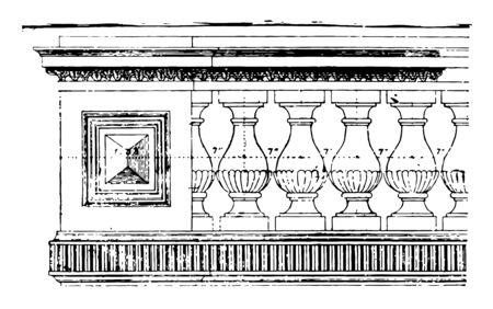 Balustrade square lathe rectangular plank spindle woodwork vintage line drawing or engraving illustration.