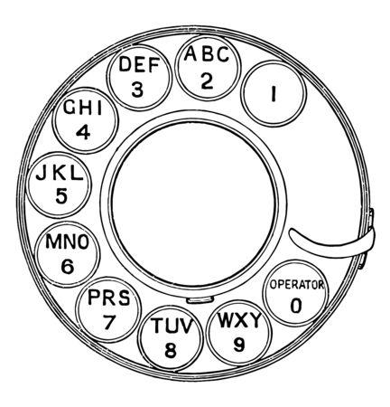 Esta ilustración representa el dial giratorio del teléfono, un dibujo de línea vintage o una ilustración de grabado.
