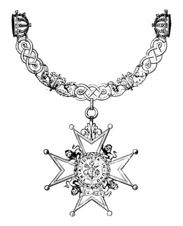 Insignia of the Order of the Bath is composed of nine imperial crowns vintage line drawing or engraving illustration.