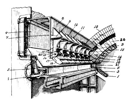 This illustration represents Arch Plate for Furnace where it is used for heating vintage line drawing or engraving illustration. Ilustração