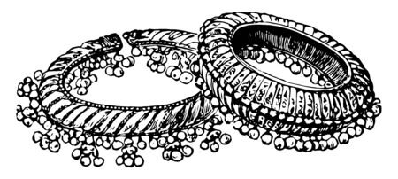 Bangles ring worn upon the arms and ankles in India and Africa vintage line drawing or engraving illustration.