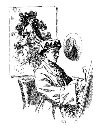 Artist is a person engaged in an activity related to creating art it is used in the entertainment business and especially in a business context vintage line drawing or engraving illustration.