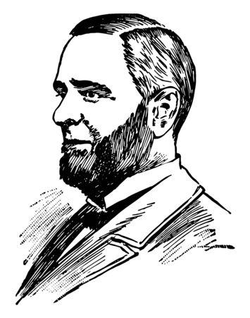 Edwin Hurd Conger 1843 à 1907, il était un soldat de la guerre civile américain avocat banquier membre du Congrès de l'Iowa vintage dessin ou gravure illustration