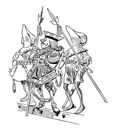 Alice nel Paese delle Meraviglie questa scena mostra il re arrestato da due soldati con lance in mano disegno dell'annata o illustrazione incisione Vettoriali