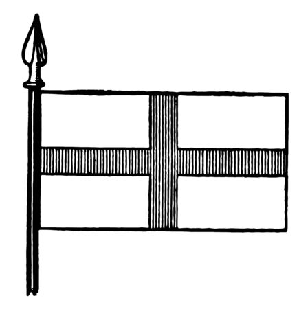 Flag of St. George, this flag is divided into four part by cross of vertical lines, vintage line drawing or engraving illustration Illustration