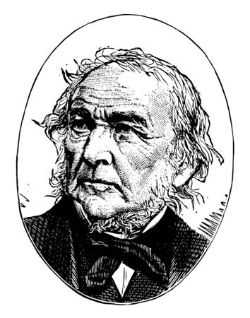 William Ewart Gladstone, 1809-1898, he was a British Liberal statesman, conservative politician, prime minister of the United Kingdom, chancellor of the Exchequer, and member of parliament, vintage line drawing or engraving illustration Foto de archivo - 133084142