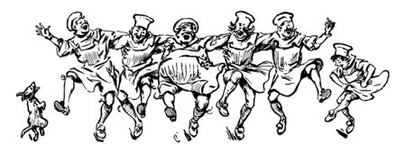 Male Cooks Dancing in a Line with a particular ballroom having hundreds of the strangers in the location of social experimentation vintage line drawing or engraving illustration.
