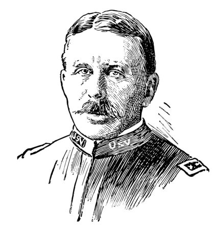 Leonard Wood 1860 to 1927 he was United States army officer governor of Cuba and governor general of the Philippines vintage line drawing or engraving illustration  イラスト・ベクター素材