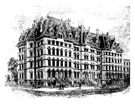 This is big old Proposed Family Hotel. There are lots of windows and three entrances to the hotel vintage line drawing or engraving illustration.