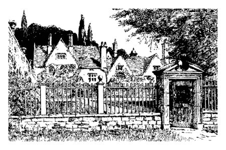 The Formal Garden avebury drawing England gardens illustration inigo thomas Landscape artist vintage line drawing or engraving illustration 向量圖像