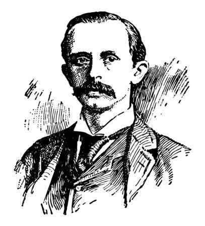 Sir James Matthew Barrie 1860 à 1937, il était un romancier et dramaturge écossais célèbre pour avoir créé Peter Pan vintage dessin ou gravure illustration Vecteurs