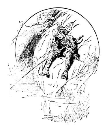 In questa foto c'è un uomo più anziano seduto su una roccia e sta dormendo con una canna da pesca in mano, un disegno dell'annata o un'illustrazione dell'incisione.