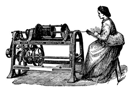 This illustration represents a woman makes rope using an early type of machine for spinning rope yarn vintage line drawing or engraving illustration.