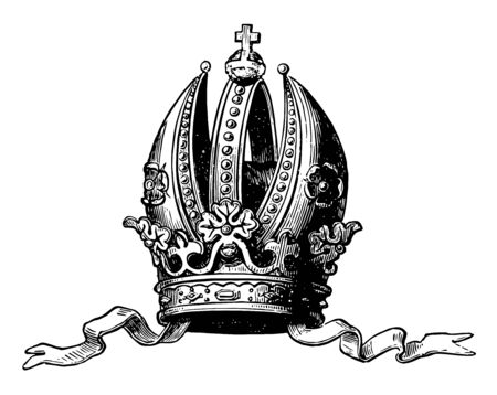 Imperial Crown of Austria greatly resembles the Episcopal mitre vintage line drawing or engraving illustration.