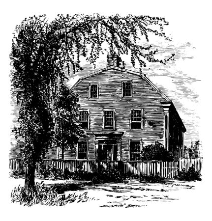 The William Pepperrell House is a historic house at 94 Pepperrell Road Maine State Route 103 in Kittery Point Maine vintage line drawing or engraving illustration. Ilustração
