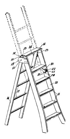 This illustration represents Expanding Ladder which consisting of two parallel members connected by rungs vintage line drawing or engraving illustration.