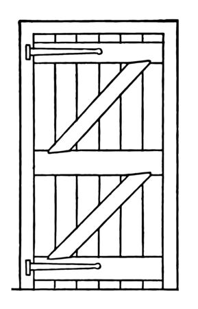 This illustration represents Ledged and Braced Door which is similar to ledged doors, vintage line drawing or engraving illustration. 일러스트