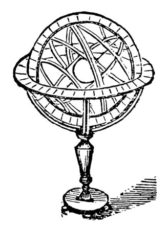 A number of rings arranged round a centre so as to represent a sphere used to illustrate the relative positions of the ecliptic vintage line drawing or engraving illustration. Ilustrace