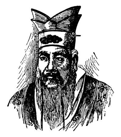 Confucius was a Chinese teacher editor politician and philosopher of the Spring and Autumn period of Chinese history vintage line drawing or engraving illustration. Illusztráció