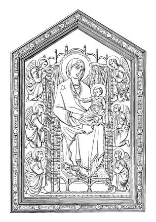 Madonna of the Church of Santa Maria Novella vintage line drawing or engraving illustration.