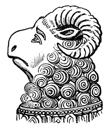 Head of Ram from the monument to Abbot Ramryge vintage line drawing or engraving illustration.