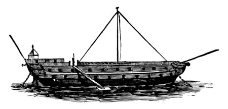 This is a very large water vessel that was used to bring the prisoners vintage line drawing or engraving illustration.