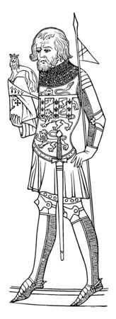 Effigy of Henry First Duke of Lancaster is an effigy of the first Duke vintage line drawing or engraving illustration. Banque d'images - 133479758