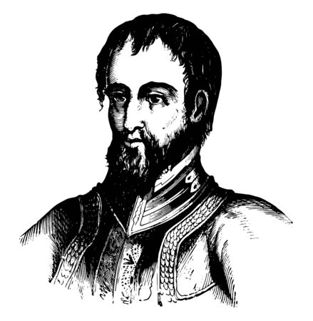 Hernando de Soto was a Spanish explorer and conquistador and the first European to discover Mississippi Rivervintage line drawing or engraving illustration. 일러스트
