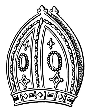Mitre of Archbishop Harnsett is a hat vintage line drawing or engraving illustration.